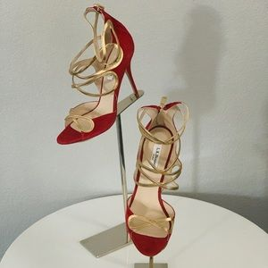 $180 LKBennett red& gold sandals size 8.5 or 39